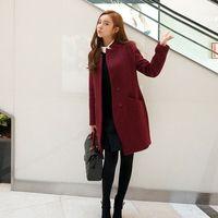 Cheap 2016 Elegant women coat winter wine red plus size female fashion overcoat Outerwear with belt