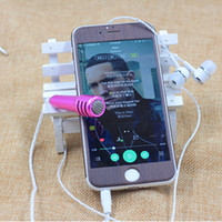 Wholesale Mini Condenser microphone with headphone earphone for Chatting on cellphone Mic For iPhone IOS Android Smartphone Sing music Karaoke KTV