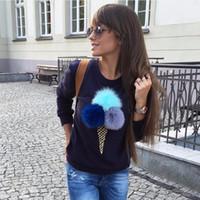 Wholesale Lvinmw Autumn Sweatshirt Colorful Plush Ball Long Sleeve O neck Tracksuit Women Truien Dames Women Hoodies Pull femme