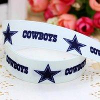 american apparel hair bow - 7 quot mm Dallas Team American Football Sports Star Printed Grosgrain Ribbon Craft Hair Bow DIY Decos Apparel A2