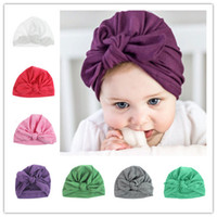 Wholesale Popular Cotton Baby Hat For Girls Boys Newborn Bohemia Style Baby Hat Accessories Infant Toddler Soft Turban Knot Cap Beanie Hat Rabbit Ears