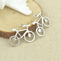 bicycle charm necklace - Vintage silver plated bicycle charms metal pendants for necklace bracelets diy jewelry mm