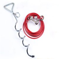 Wholesale 4 M Steel Wire Dog leash with dog stake with ground screw pet stake anchor outdoors Pet fitted stake accessories