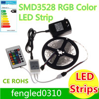 Wholesale LED Strips M Set SMD led M LED Strip Light Keys IR Remote Controller Power supply Adapter White Red RGB LED strips light
