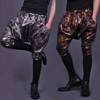 alternative pants - New Design Personalized Alternative Trousers VSTINUS Men Harem Pants Men S Gold Silver loose low crotch Feet pants