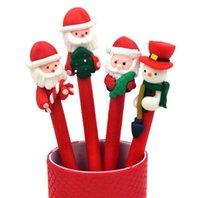 Wholesale One Piece Christmas Ballpoint Pen Christmas Snowman Father Christmas Doll Ballpens Christmas Kids Gifts School Supplies
