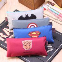 american office supply - 2016 Superman Batman Captain American Transformer Pencil Cases Bags Pen Coin Purse Organizer Office School Supplies mix color YL111