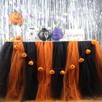 Wholesale Halloween Decoration Tulle Tutu Table Skirt for Party Table Skirt Home Textile Orange and Black Color