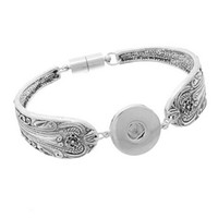 Wholesale 10 SNAP SPOON BRACELET Carved Silver Charm Ginger Chunk Interchangeable Jewelry Snaps mm Magnetic Clasp