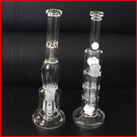 barrels for sale - Hand blown smoke pipes for sale big water bongs glass bong double percolator with honeycomb disc perc barrel perc glass recycler oil rigs