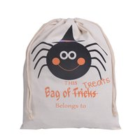 Wholesale Halloween Trick or Treat Fancy Bag Pumpkin Spider Printed Cavas Sack Children Party Festival Drawstring Bag