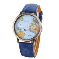 al por mayor relojes de cuarzo rojo verde-Findmecatalog Vintage World Map Viaje Alrededor De Pu Correa De Cuero Reloj De Cuarzo Azul / Rojo / Verde para la elección