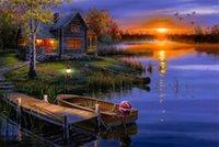 autumn bushes - Original US High tech HD Print Oil Painting Art On Canvas Darrell Bush Autumn at the Lake x36inch Unframed