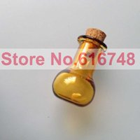 amber colored bottles - 20PCS ml Amber Glass Bottle Small Brown Glass Bottles With Corks Small Colored Glass Bottle With Cork Stoppers Flat Bottom Bulb
