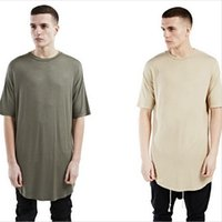 Wholesale New oversized men street wear kanye west clothing justin bieber Hip Hop clothes men s t shirt fitness elongated curved hem tee