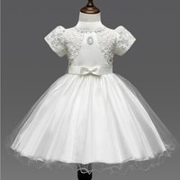 ball hooks - Baby Kids Clothing Flower Girls Dresses wedding princess short sleeve Ball Gown Lace Hook bud silk TuTu skirt Dress C0186