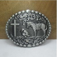 Wholesale 4cm width Horse with cross belt buckle with pewter finish FP blet buckles fashion accessories Belts Accessories zinc alloy