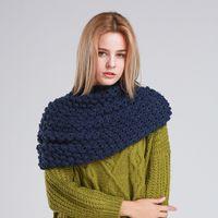acrylic knit scarf - Fashion Women Winter Warm Knitted Neck Circle Wool Cowl Snood Long Scarf Shawl
