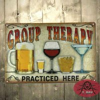 Wholesale Group Therapy Practiced Here TIN SIGN Alcohol beer wine home bar wall decor A