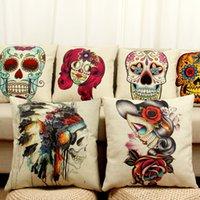 beige throw pillows - Mexican Ladies Skull Printed Burlap Linen Cushions Cases Novelty Decorative Throw Pillows for Sofa Chair Car Home Decorwp205