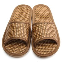 bamboo flip flops - Natural Bamboo Shoes New Arrival Summer Flax Slipper Home Indoor Antiskid Men And Women Rattan Mat Bottom Cool Slippers