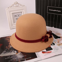 Wholesale Women Fashion Top Hats Imitation Wool Stingy brim hats Classic Bow casual caps DHL