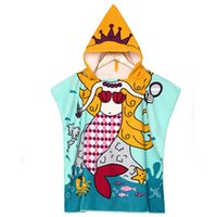 Wholesale Bath Towel_Kids Cartoon Mermaid Printed Hooded Bathrode For Boys Girls