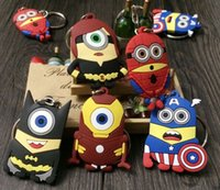 yellow action stainless - 060301 NEW D Despicable Me Minion Action Figure two sided flat Keychain Keyring Superhero styles DHL freeShip