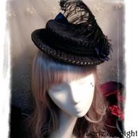 En gros de luxe de style court de la cour de dames fleur de plumes gothique bleu et noir mini-coiffeur
