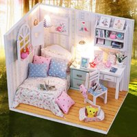 Wholesale Kits DIY Wood Dollhouse Bed Miniature With LED Furniture cover Magic Room Gift