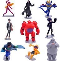 assembly movie - 9pcs set Big Hero figures Baymax Fred Tomago Honey lemon Wasabi Cartoon Model Toys Assembly Toys Compatible Action Figure