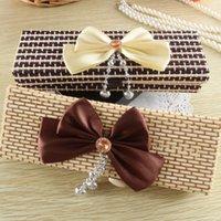 bamboo pencil case - Elegant Bowknot Decor Handmade Bamboo Storage Box Gift Retro Wood Jewelry Necklace Ornament Organizer Pencil Case Boxes