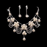 Wholesale New Gothic choker Wedding Bridal jewelry set crystal flower pearls necklace earrings captivating gift