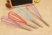 Wholesale 10 quot SILICONE COATED EGG WHISK EGGBEATER STAINLESS STEEL HANDLE KITCHEN GADGET BY DHL