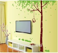 big green tree wall decal - Ex Large Size quot quot Wall Decals Black Brown Color Big Trees Decorative Removable Green Enviromental PVC Wall Stickers