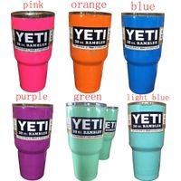 steel water bottles - Pink YETI Tumbler Rambler Cups Blue Light Blue Orange Purple Light Green Yeti Mugs Large Capacity Stainless Steel cups Tumbler Mugs DHL free
