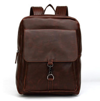 Acheter Hommes bruns sacs à dos-Femmes Hommes Noir Marron PU Sac à dos en cuir Voyage de qualité Sacoche Sacoche Sacs de randonnée vintage