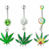 bell plant - 3pcs Sexy Rhinestone Ball Green Leaf Medical Stainless Steel Piercing Belly Button Rings Body Piercing Navel Jewelry