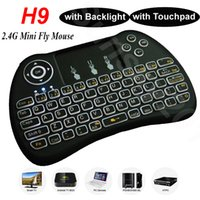 Wholesale Wireless Mini Keyboards with Backlit Backlight Touchpad for S912 S905X Android TV Box H9 GHz Fly Air Mouse Remote Control for IPTV PC