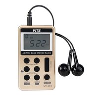 band earphone - Portable VITE FM AM Band Mini Radio Pocket Receiver With Rechargeable Battery Earphone F9202A