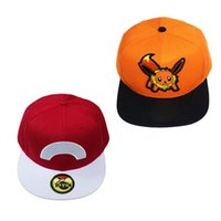ash orange - Poke mon Go Hats Ash Ketchum Pikachu Eevee Flareon Baseball Caps Embroider Sport Outdoor Visor Adjustable Snapback Cap