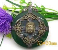 Wholesale Tibet silver Buddha head jade pendant gift