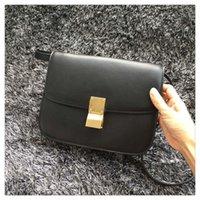 Cheap 2016 Famous Luxury Brand Women Genuine Leather Handbag Original Quality Fashion Flap Bag Cow Leather Chain Bag 24cm 18Color Amber