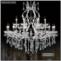 al por mayor 18 lámparas de araña moderna-Salón de lujo María Teresa cristalina de las lámparas de estar claro de plata lámpara de la lámpara moderna para el Hotel 18 luces auténtica Chrystal