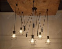 american elevator - Nordic retro RH Industrial restaurant bar living room chandelier American country creative personality small elevator cage lamp