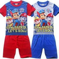 Cheap Cartoon Dog Children's clothing set Cartoon kids suits boy's Round neck T-shirt with shorts Printed pajamas sets 60 set lot TM