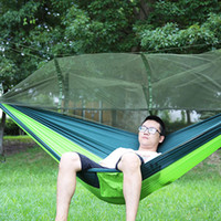Wholesale Double Hammock with Mosquito Net Camping Survival Parachute Cloth Portable Hammock cm Stitching Color Colors New Arrival