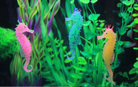 Wholesale Fashion Hot Environmental and friendly Luminous Sea Horse Hippocampus Aquarium silicone Fish Tank Decoration