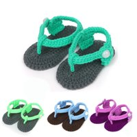 Wholesale 0 Month Sweet Colorful Baby Shoes Boy Girl Knit Crochet Handmade Casual Flip Flops Socks Shoes Green Blue Purple