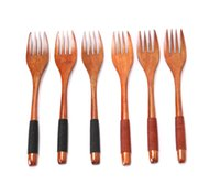 Wholesale Flatware forks ECO Friendly Japanese style wood forks Binding wire wooden fork